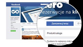 Strona www z formularzem rezerwacji na portalu facebook