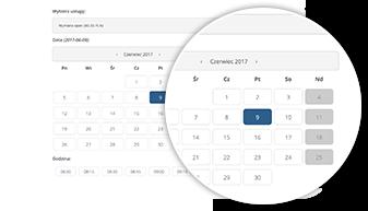 Widok miesięczny kalendarza rezerwacji